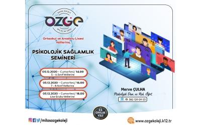 """Ortaokul ve Anadolu Lisesi Velilerine """"Psikolojik Sağlamlık Semineri"""""""