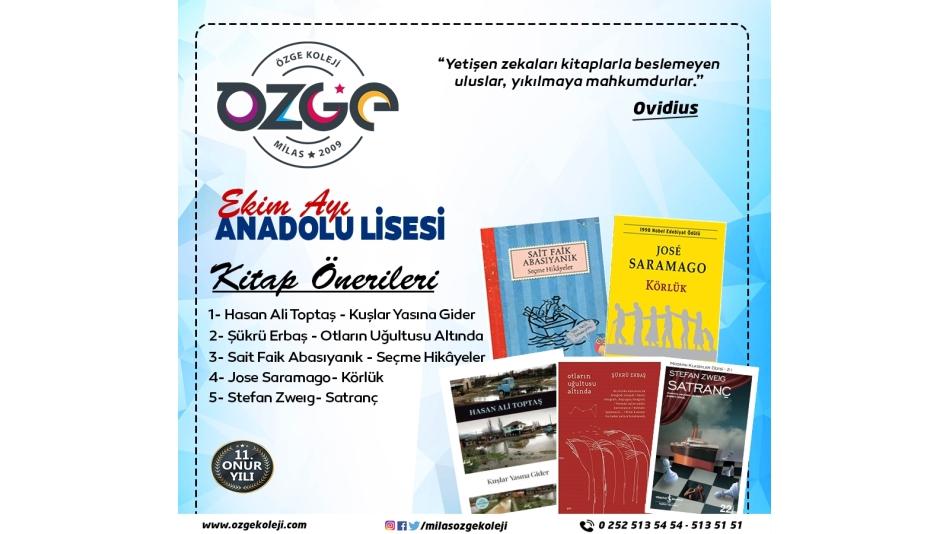 Ekim Ayı Anadolu Lisesi Kitap Önerileri...