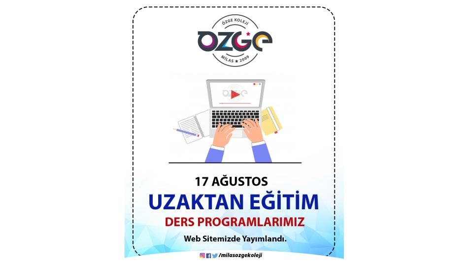 Uzaktan Eğitim Programımız Web Sayfamızda Yayımlandı.